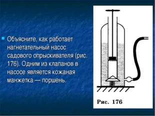 Объясните, как работает нагнетательный насос садового опрыскивателя (рис. 176