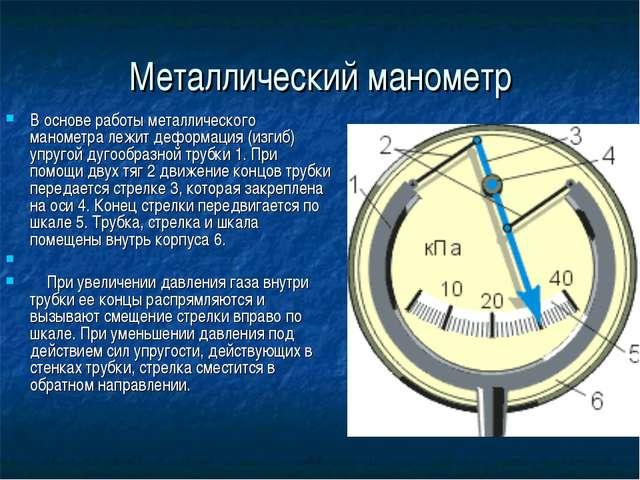 Металлический манометр В основе работы металлического манометра лежит деформа...