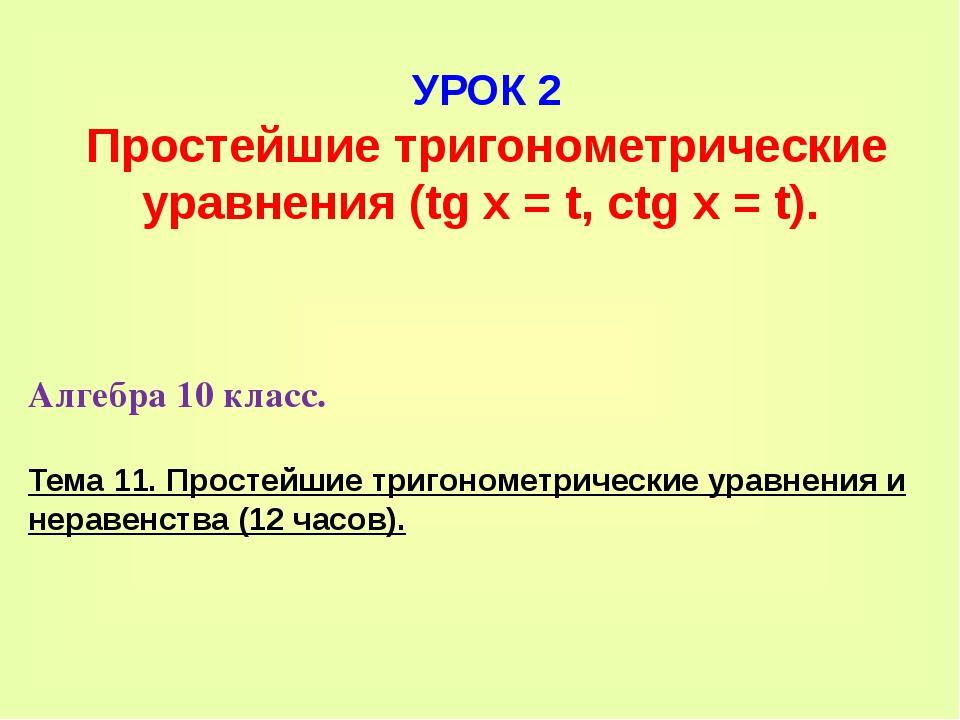 УРОК 2 Простейшие тригонометрические уравнения (tg x = t, ctg x = t). Алгебра...