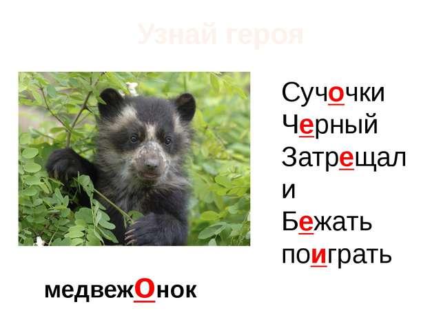 Узнай героя медвежонок Сучочки Черный Затрещали Бежать поиграть