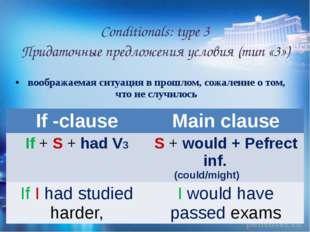 Conditionals: type 3 Придаточные предложения условия (тип «3») воображаемая с