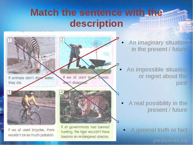 Match the sentence with the description An imaginary situation in the present...