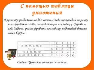 С помощью таблицы умножения Карточка разделена на две части. Слева на каждой