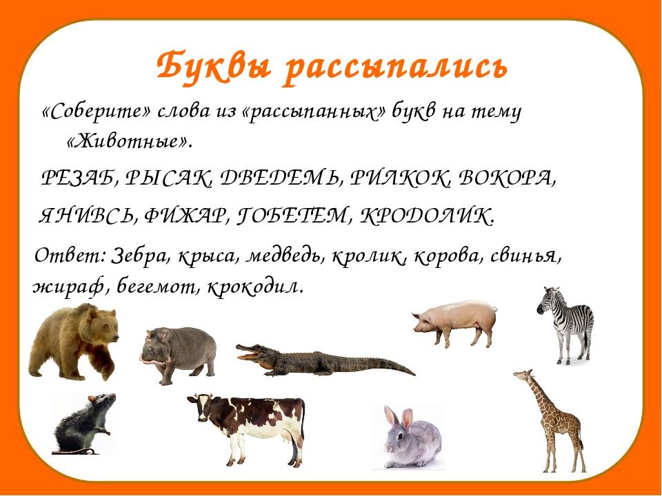 Буквы рассыпались «Соберите» слова из «рассыпанных» букв на тему «Животные»....