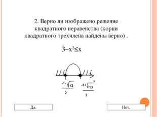 2. Верно ли изображено решение квадратного неравенства (корни квадратного тре