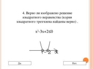 4. Верно ли изображено решение квадратного неравенства (корни квадратного тре