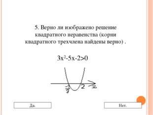 5. Верно ли изображено решение квадратного неравенства (корни квадратного тре