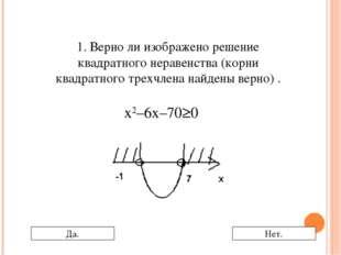 1. Верно ли изображено решение квадратного неравенства (корни квадратного тре