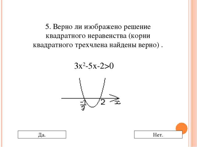 5. Верно ли изображено решение квадратного неравенства (корни квадратного тре...