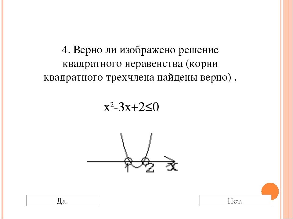 4. Верно ли изображено решение квадратного неравенства (корни квадратного тре...