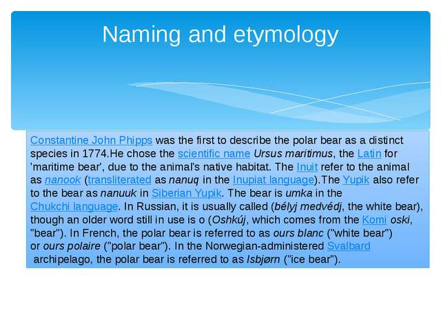 Naming and etymology Constantine John Phipps was the first to describe the po...