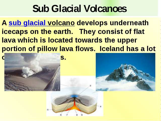 Sub Glacial Volcanoes A sub glacial volcano develops underneath icecaps on th...