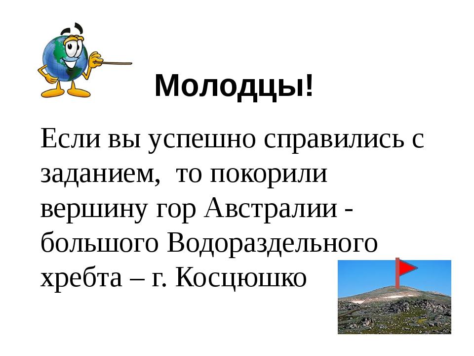 Молодцы! Если вы успешно справились с заданием, то покорили вершину гор Австр...