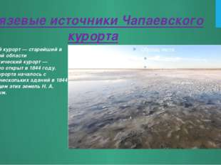 Грязевые источники Чапаевского курорта Чапаевский курорт — старейший в Сарато