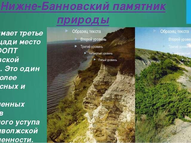 Нижне-Банновский памятник природы Он занимает третье по площади место среди О...