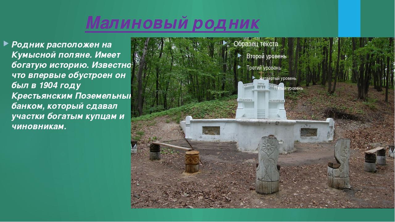 Малиновый родник Родник расположен на Кумысной поляне. Имеет богатую историю....