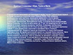 Братья Стояновы: Юра, Толя и Митя Старокрымские мальчишки организовали в сво