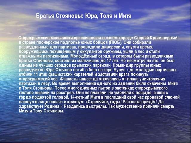 Братья Стояновы: Юра, Толя и Митя Старокрымские мальчишки организовали в сво...