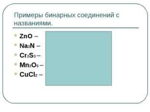 Примеры бинарных соединений с названиями. ZnO – оксид цинка Na3N – нитрид нат