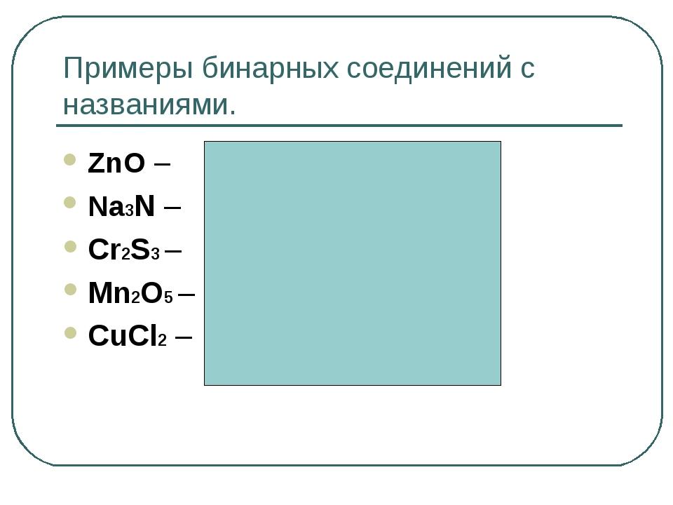 Примеры бинарных соединений с названиями. ZnO – оксид цинка Na3N – нитрид нат...