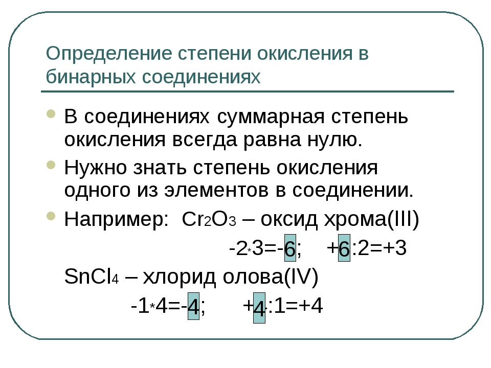 Определение степени окисления в бинарных соединениях В соединениях суммарная...