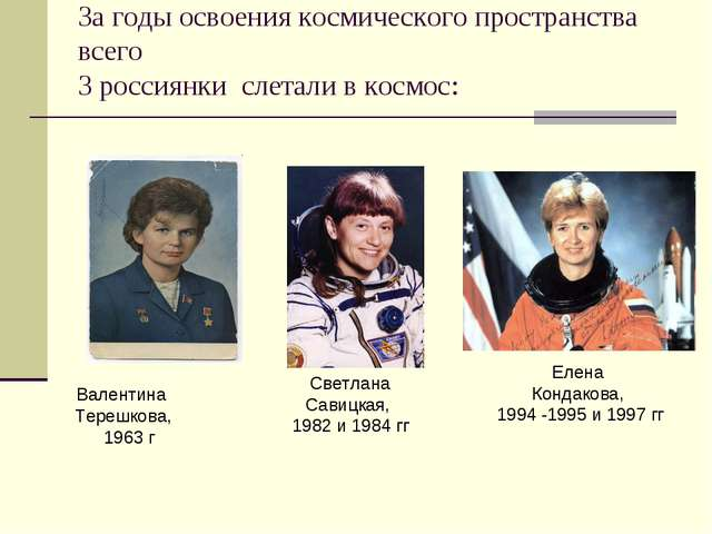 За годы освоения космического пространства всего 3 россиянки слетали в космос...