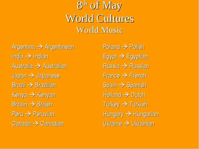 8th of May World Cultures World Music Argentina  Argentinean	 India  Indian...