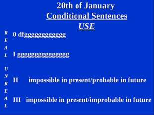20th of January Conditional Sentences USE R E A L 0 dfgggggggggggg I gggggggg