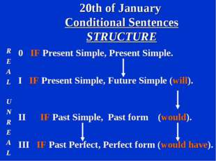 20th of January Conditional Sentences STRUCTURE R E A L 0 IF Present Simple,