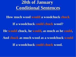 20th of January Conditional Sentences How much wood would a woodchuck chuck I