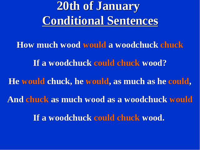 20th of January Conditional Sentences How much wood would a woodchuck chuck I...