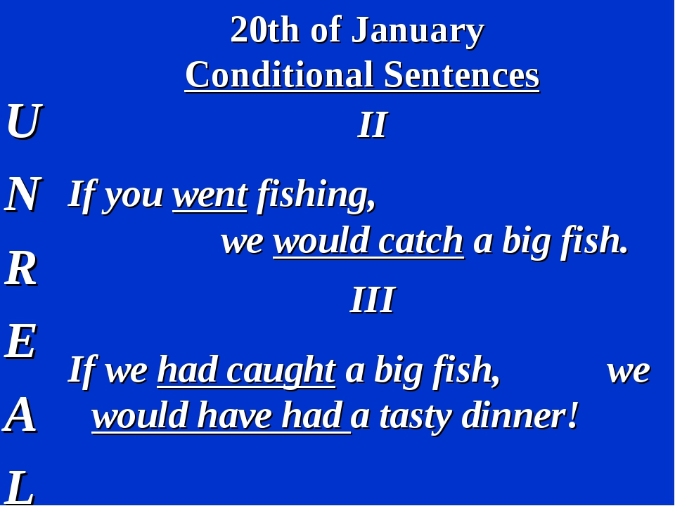 20th of January Conditional Sentences U N R E A L II If you went fishing, we...