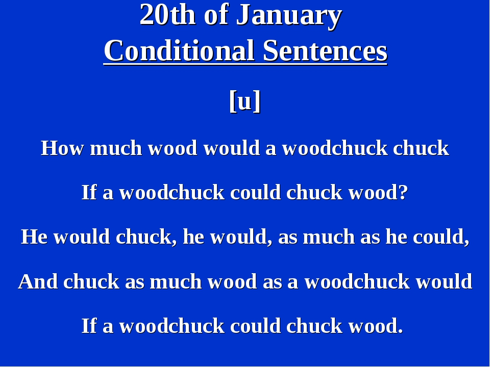 20th of January Conditional Sentences [u] How much wood would a woodchuck chu...