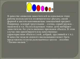 В качестве символов-заместителей на начальном этапе работы используются геом