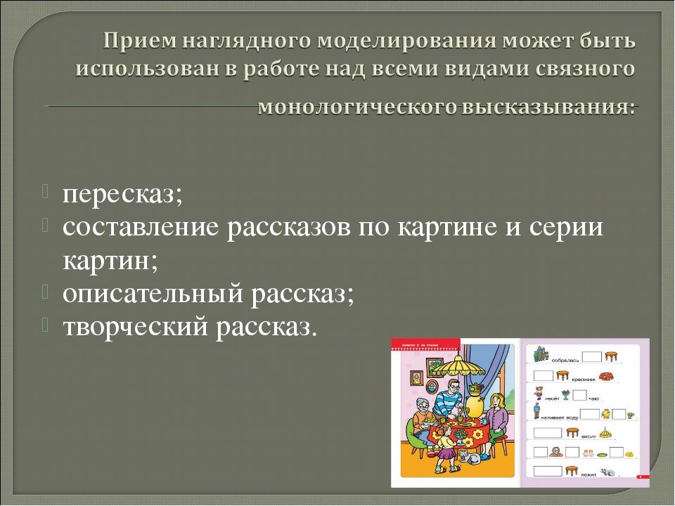 пересказ; составление рассказов по картине и серии картин; описательный расск...