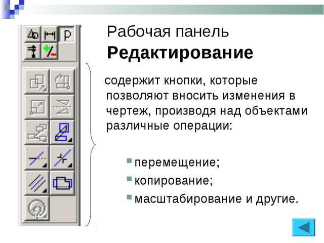Рабочая панель Редактирование содержит кнопки, которые позволяют вносить изме...