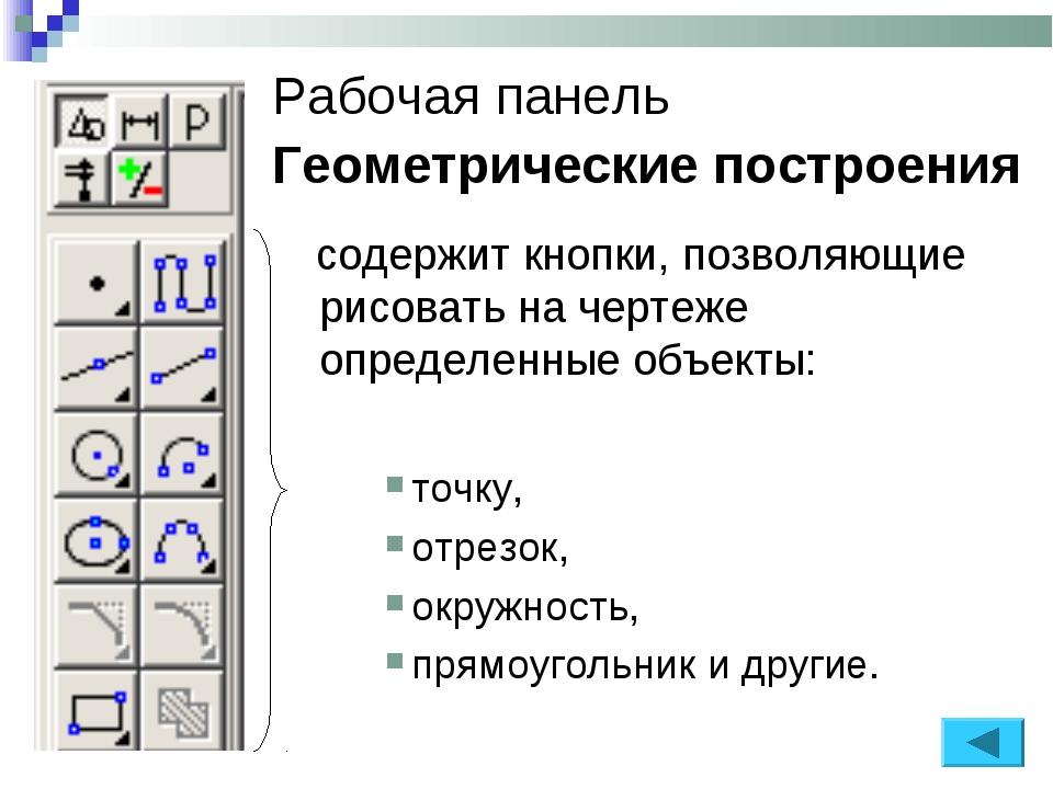 Рабочая панель Геометрические построения содержит кнопки, позволяющие рисоват...