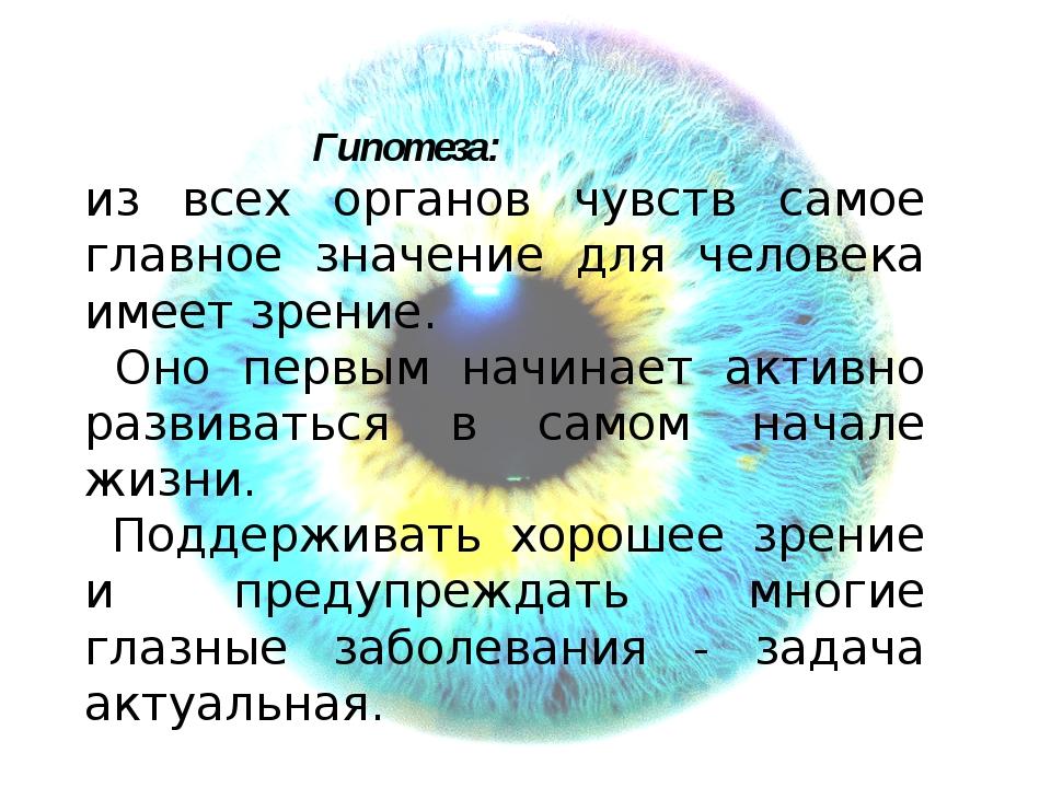 Гипотеза: из всех органов чувств самое главное значение для человека имеет з...