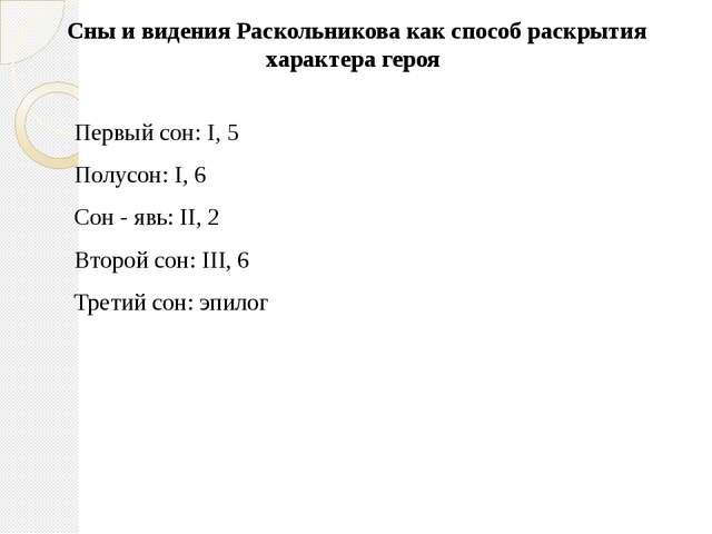 Сны и видения Раскольникова как способ раскрытия характера героя  Первый сон...