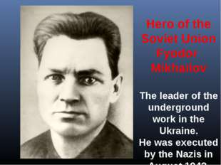 Hero of the Soviet Union Fyodor Mikhailov The leader of the underground work