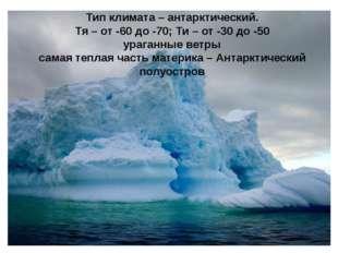 Тип климата – антарктический. Тя – от -60 до -70; Ти – от -30 до -50 ураганны