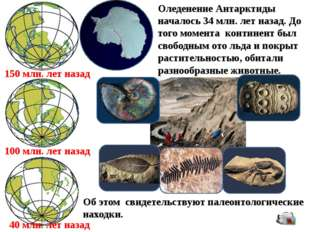 150 млн. лет назад 100 млн. лет назад 40 млн. лет назад Оледенение Антарктиды