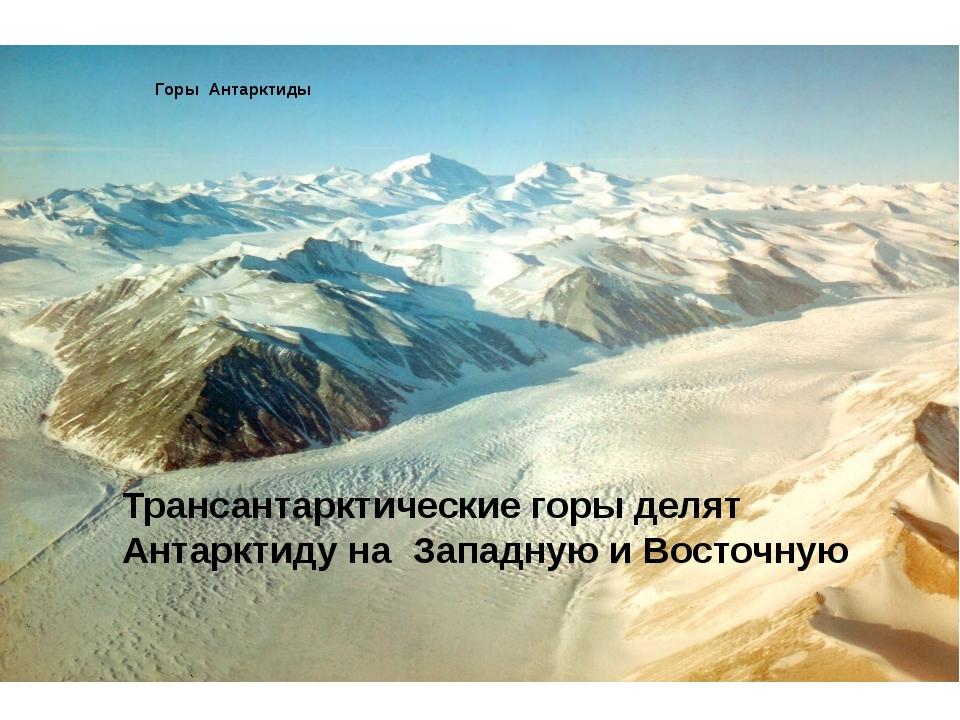 Трансантарктические горы делят Антарктиду на Западную и Восточную Горы Антар...