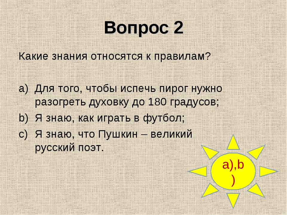 Вопрос 2 a),b) Какие знания относятся к правилам? Для того, чтобы испечь пиро...