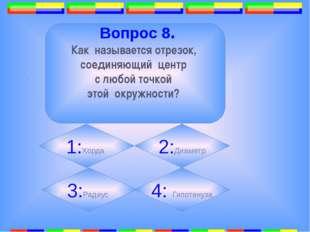 6. . Вопрос 8. Как называется отрезок, соединяющий центр с любой точкой этой