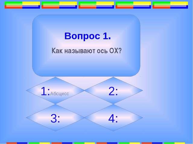 1:Абсцисс 2: 3: 4: Вопрос 1. Как называют ось ОХ?