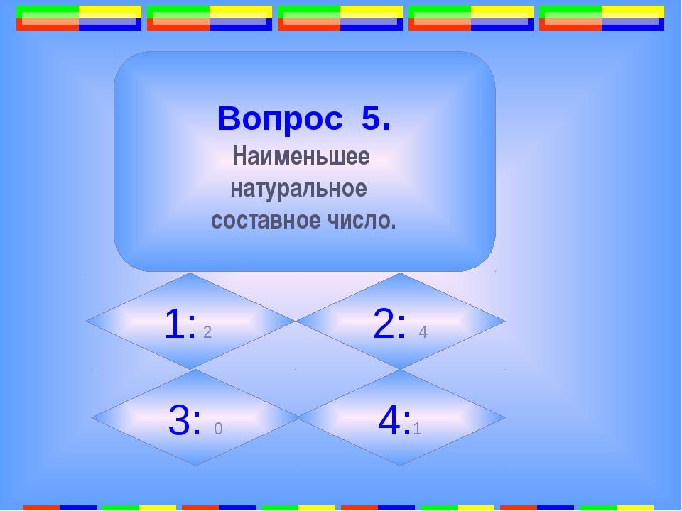12. Вопрос 5. Наименьшее натуральное составное число. 1: 2 2: 4 3: 0 4:1