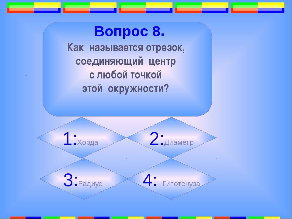 6. . Вопрос 8. Как называется отрезок, соединяющий центр с любой точкой этой...