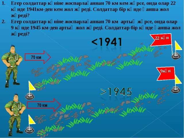 Егер солдаттар күніне жоспарлағаннан 70 км кем жүрсе, онда олар 22 күнде 1941...