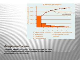 Диаграмма Парето Диаграмма Парето — инструмент, позволяющий распределить усил